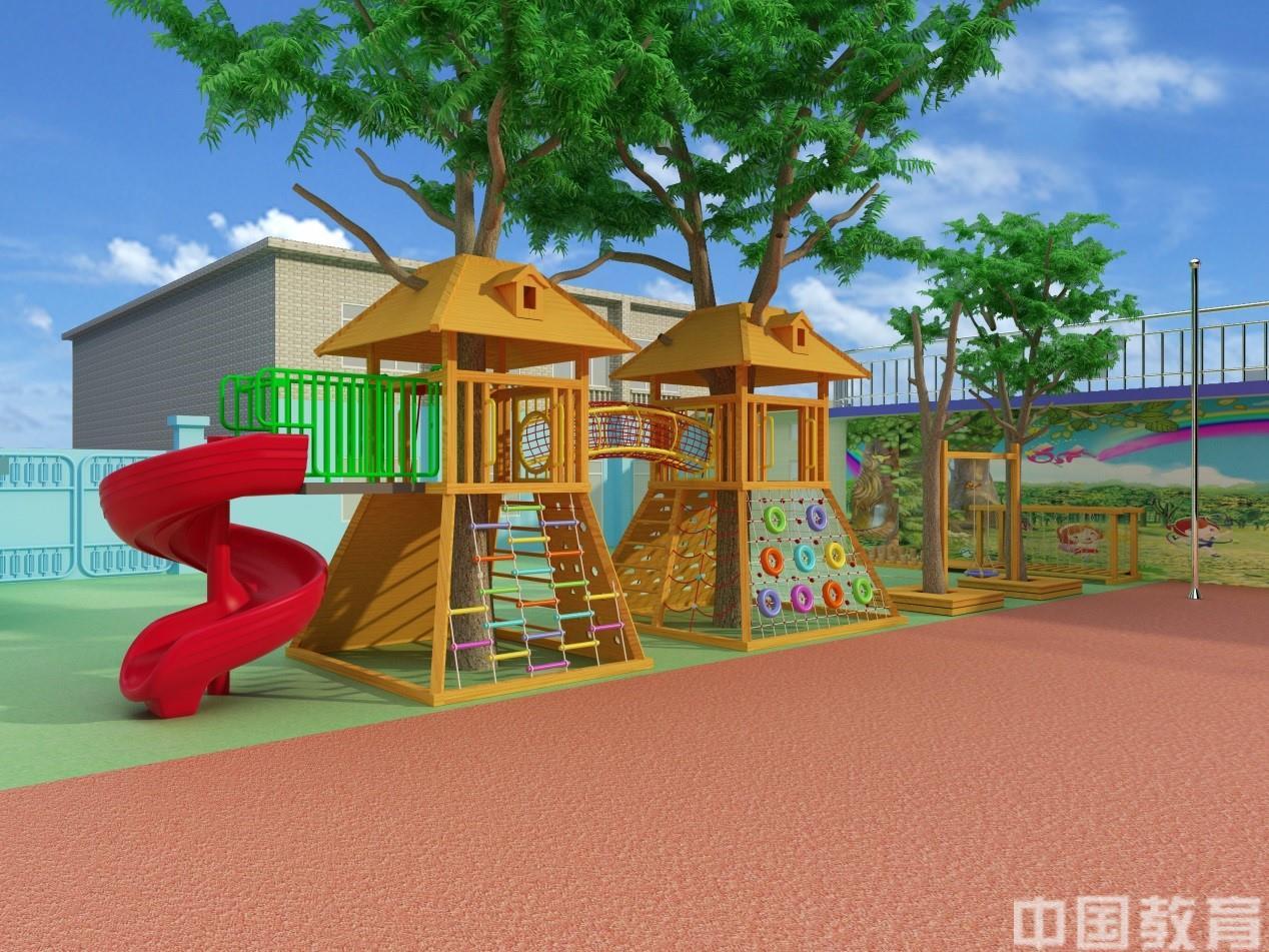 树屋设计效果图   树屋的设计改变了传统室外玩具的单调与乏味,同时也为部分场地偏小的幼儿园节省空间。它的设计理念来源于人与自然的完美结合,幼儿园原有的两颗大树原本毫无关联,可是树屋却将他们产生了关系。树屋的活动方式丰富多样,包括了滑梯、绳网攀爬、轮胎攀爬、软梯、拱笼等,让孩子们在空间和感官上的体验达到极致。同时也让人与自然结合的理念达到极致!